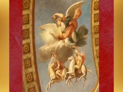D'après Aurore et les Dioscures, fresque deFrançois Perrier,Galerie Dorée, Hôtel La Vrillière-Toulouse (banque de France),Paris, France, XVIIe siècle. (Marsailly/Blogostelle)