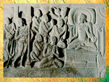 D'après Buddha et ses adeptes, bas-relief, IIIe siècle apjc, Amarâvatî, Andhra Pradesh, Inde du Sud. (Marsailly/Blogostelle)