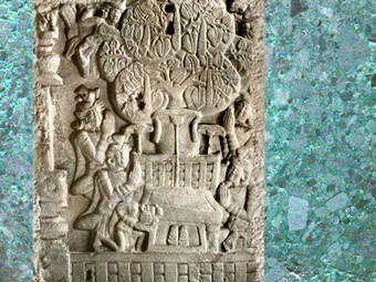 D'après une scène d'adoration du Buddha et siège vide, Amarâvatî, Ier siècle avjc-Ier siècle apjc, Amarâvatî,Andhra Pradesh, Inde du Sud.(Marsailly/Blogostelle)