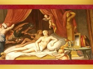 D'aprèsSémélé, séduite par Jupiter,fresque de François Perrier, Galerie Dorée, Hôtel de Toulouse (Banque de France), Paris. (Marsailly/Blogostelle)