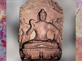 D'après Buddha devant l'arbre pipal, grès rouge, Sarnâth, fin Ie siècle apjc, Kushâna sous le règne de Kanishka, Uttar Pradesh, Inde du Nord. (Marsailly/Blogostelle)