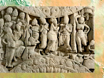 D'après la vie du Buddha, scène sculptée, IIe siècle apjc, Amaravatî,Andhra Pradesh, Inde du Sud. (Marsailly/Blogostelle)