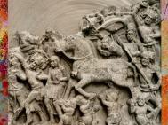 D'après Le Grand Départ, relief, IIe - IIIe siècle apjc, Amarâvatî, Andhra Pradesh, D'après Le Grand Départ, serviteur, cheval et parasol, Ier siècle apjc, école d'Amarâvatî, Andhra Pradesh, Inde du Sud. (Marsailly/Blogostelle)