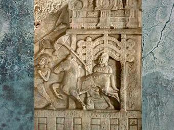 D'après Le Grand Départ, serviteur, cheval et parasol, Ier siècle apjc, école d'Amarâvatî, Andhra Pradesh, Inde du Sud. (Marsailly/Blogostelle)