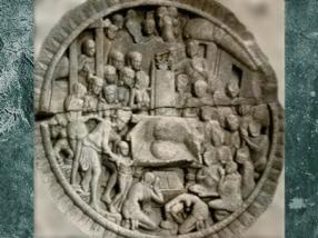 D'après Rahula présenté à son père Buddha, fin IIe siècle, stûpa Amaravatî, Sâtavahâna, Andhra Pradesh, Inde du Sud. (Marsailly/Blogostelle)