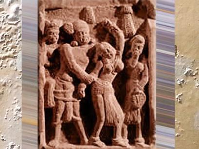 D'après un homme et une femme, dispute, école de Mathurâ, dynastie Kushâna, vers IIe siècle apjc, Inde du Nord. (Marsailly/Blogostelle)