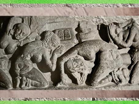 D'après une scène d'Adoration du Buddha, empreintes, école d'Amarâvatî, IIe siècle apjc, Andhra Pradesh, Inde du Sud. (Marsailly/Blogostelle)