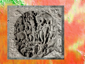 D'après La Descente du Buddha, IIe - IIIe siècle apjc, Amarâvatî, Andhra Pradesh, Inde du Sud. (Marsailly/Blogostelle)