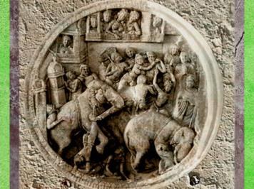 D'après Buddha et l'éléphant furieux, IIe -deb IIIe siècle apjc, école d'Amarâvatî, Andhra Pradesh, Inde du Sud. (Marsailly/Blogostelle)