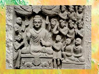 D'après le Premier Sermon du Buddha à Sârnath, vers IIe siècle, art du Gandhara, époque Kushâna en Inde du Nord. (Marsailly/Blogostelle)