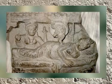 D'après le Songe de la reine Maya et l'éléphant blanc, IIe-IIIe siècle apjc, art du Gandhâra, dynastie Kushâna en Inde du Nord. (Marsailly/Blogostelle)