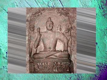 D'après un relief sculpté du Buddha(sans l'ûrnâ), Ier-IIe siècle apjc, école de Mathurâ époque Kushâna, Uttar Pradesh, Inde du Nord. (Marsailly/Blogostelle)