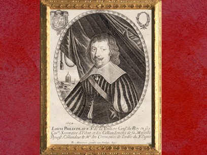 D'après un portrait de Louis Phélypeaux de la Vrillière, sur une estampe de Balthazar Montcornet, 1654 apjc. (Marsailly/Blogostelle)