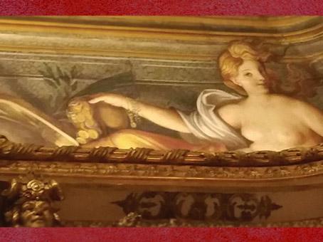 D'après les peintures de la Galerie Dorée,inspirées par le monde Antique,l'Abondance et ses pièces d'or...Hôtel de Toulouse (Banque de France), Paris, France. (Marsailly/Blogostelle)