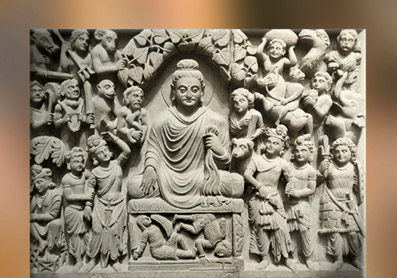 D'après un relief de l'Illumination du Buddha,IIe-IIIe siècle apjc, art du Gandhâra, Kushâna en Inde du Nord. (Marsailly/Blogostelle)