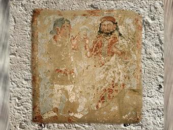 D'après une plaque votive, terre cuite peinte, IIIe siècle apjc, Bactriane (nord Afghanistan), fin époque Kushâna en Inde du Nord. (Marsailly/Blogostelle)