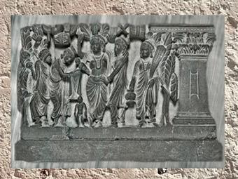 D'après des scènes de la vie du Bouddha, IIe siècle-IIIe siècles apjc, Gandhara, époque Kushâna en Inde du Nord. (Marsailly/Blogostelle)