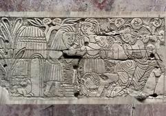 D'après une plaquette d'ivoire, décor peint, scène de Jataka, trésor de Bégram, époque Kushâna en Inde du Nord. (Marsailly/Blogostelle)