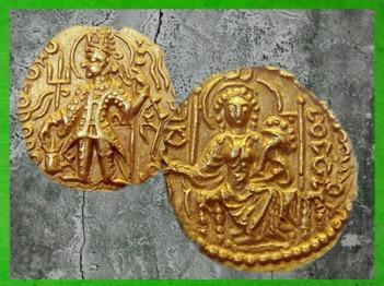 D'après l'empereur Vasudeva II, monnaie en or, IIIe siècle apjc, fin de la dynastie Kushâna, Inde ancienne du Nord. (Marsailly/Blogostelle)