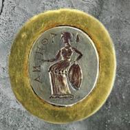 D'après Athéna, bague en or, Ier siècle apjc, mobilier funéraire, Tillia Tepe (Afghanistan), époque Kushâna en Inde du Nord. (Marsailly/Blogostelle)