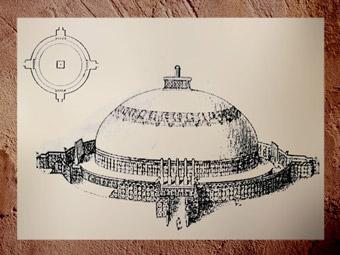 D'après un schéma du stûpa d'Amaravatî, IIe siècle apjc, dynastie Sâtavahâna, Andhra Pradesh, Inde du Sud. (Marsailly/Blogostelle)