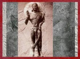 D'après un relief sculpté du Buddha debout, Mathurâ, IIe siècle apjc, époque Kushâna, Uttar Pradesh, Inde du Nord. (Marsailly/Blogostelle)