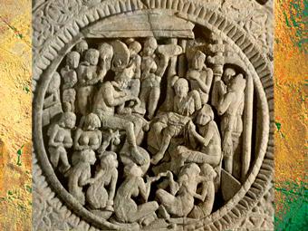 D'après un médaillon sculpté, balustrade du stûpa, IIe siècle apjc ; école d'Amaravatî, Andhra Pradesh, Inde du Sud. (Marsailly/Blogostelle)