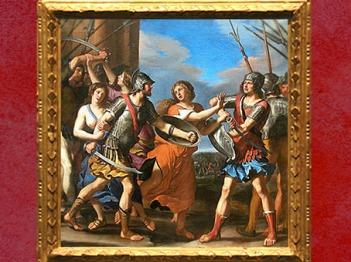 D'après Hersilie séparant Romulus et Tatius, dit aussi Le combat des Romains et des Sabins, 1645, Le Guerchin, Galerie Dorée, collection de La Vrillière, Paris, France, XVIIe siècle. (Marsailly/Blogostelle)