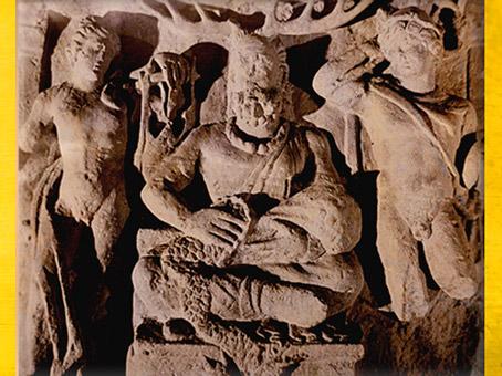 D'après Cernunnos à coiffe de cerf, entre Apollon et Mercure, relief, Ier-IIIe siècle apjc, Gaule Romaine. (Marsailly/Blogostelle)