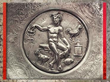 D'après une coupe, trésor de Berthouville dédié à Mercure (détail), argent, IIe siècle apjc, Normandie, France,Gaule Romaine. (Marsailly/Blogostelle)