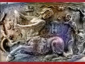 D'après un centaure, masculin, détail du Trésor de Berthouville, orfèvrerie en argent, IIe siècle apjc, sanctuaire de Mercure, Normandie, France,Gaule Romaine. (Marsailly/Blogostelle)