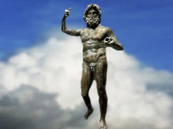D'après une statue de Jupiter, Ier siècle apjc, bronze coulé à la cire perdue, patine verte,Gaule Romaine. (Marsailly/Blogostelle)