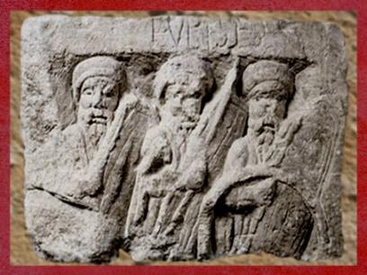 D'après le thème du chiffre Trois, Pilier des Nautes à Lutèce, Trio de dieux gaulois, Ier siècle apjc, Gaule Romaine. (Marsailly/Blogostelle)