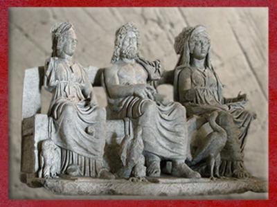 D'après Minerve, Jupiter et Junon et leurs attributs : la chouette, l'aigle et l'oie, IIe siècle apjc, groupe statuaire, art romain. (Marsailly/Blogostelle)