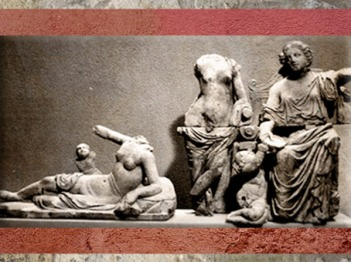 D'après un groupe statuaire, une divinité et des nymphes, IIe siècle apjc, temple de Genainville, France,Gaule Romaine. (Marsailly/Blogostelle)