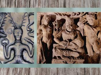 D'après le dieu celte cornu du chaudron de Gundestrup, Ier siècle avjc, âge du Fer ; et le Cernunnos gaulois entre Apollon et Mercure, Ier-IIIe siècle apjc,Gaule Romaine. (Marsailly/Blogostelle)