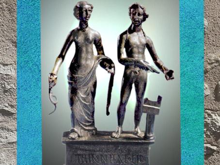 D'après Sirona et Apollon, bronze et argent, IIe siècle apjc, Dijon, Bourgogne, Gaule Romaine. (Marsailly/Blogostelle)