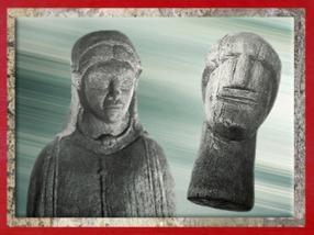 D'après deux ex-votos, hêtre, source des Roches, Ier siècle apjc, Chamalières, Gaule Romaine. (Marsailly/Blogostelle)