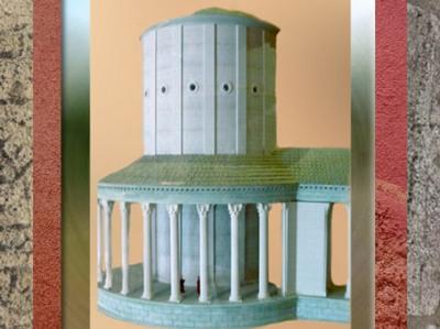 D'après le temple circulaire du Fâ de Barzan, et sa galerie de circulation, maquette, IIe siècle apjc, Charente Maritime, France,Gaule Romaine. (Marsailly/Blogostelle)