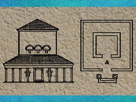 D'après un plan centré quadrangulaire, l'élévation et la galerie d'un Fanum Gaulois. (Marsailly/Blogostelle)