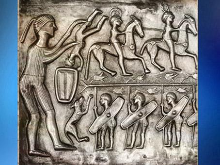 D'après une scène de guerriers, chaudron de Gundestrup, métal, Ier siècle avjc, âge du Fer, Danemark, art celte.(Marsailly/Blogostelle)