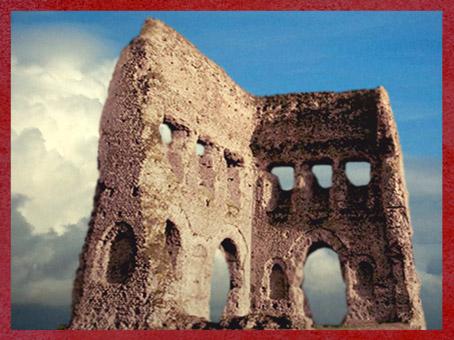 D'après des vues du fanum d'Autun dit Le portique de Janus, Ier siècle apjc, Bourgogne, France,Gaule Romaine. (Marsailly/Blogostelle)