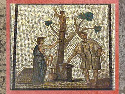 D'après le Sacrifice au dieu gaulois Taranis, mosaïque Saint-Romain-en-Gal, IIIe siècle apjc, Gaule Romaine. (Marsailly/Blogostelle)