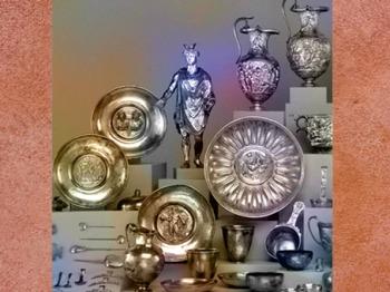 D'après le trésor de Berthouville, argent, statuette et vaisselle, IIe siècle apjc, sanctuaire de Canetonum, Normandie,Gaule Romaine. (Marsailly/Blogostelle)