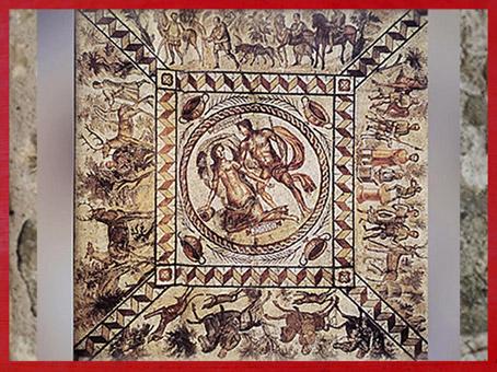 D'après la mosaïque de Lillebonne, La Chasse, IIIe - IVe siècle apjc, Normandie, France,Gaule Romaine. (Marsailly/Blogostelle)