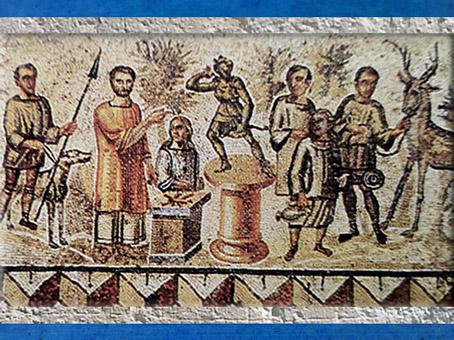 D'après la mosaïque de Lillebonne, La Chasse,et détail, représentation d'unestatue de Diane sur un piédestal, IIIe - IVe siècle apjc, Normandie, France,Gaule Romaine. (Marsailly/Blogostelle)