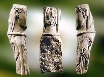 D'après les attributs du dieu gaulois d'Euffigneix, une grande oreille (?) et un grand œil, Ier siècle avjc, Haute-Marne, France,Gaule Romaine. (Marsailly/Blogostelle)