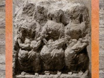 D'après les Matres, groupe sculpté, avec nourrisson, patère et corne d'abondance, Lyon, Gaule Romaine. (Marsailly/Blogostelle)