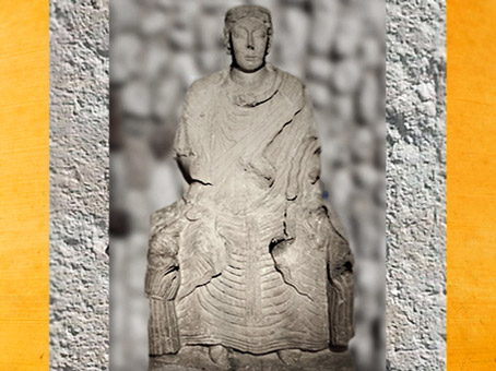 D'après la déesse-mère de Saint-Aubin-sur Mer, Normandie, Ier avjc-IVe siècle apjc,Gaule Romaine. (Marsailly/Blogostelle)