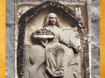 D'après la déesse Épona de Thizy et son plateau de fruits, stèle, Bourgogne, Ier avjc-IIIe siècle apjc, France, Gaule Romaine. (Marsailly/Blogostelle)